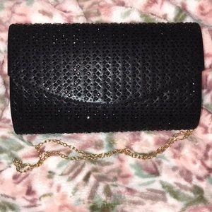 Handbags - Rhinestone clutch with gold chain
